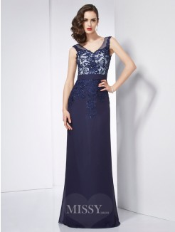 Sheath V-neck Sleeveless Beading Applique Floor-Length Chiffon Dress