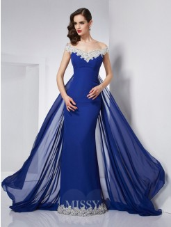 Mermaid Off-the-Shoulder Sleeveless Applique Chiffon Floor-Length Dress