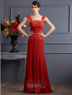 Sheath Chiffon Sleeveless Straps Floor-Length Dress