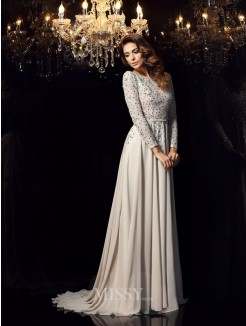A-Line/Princess Long Sleeves Scoop Chiffon Beading Court Train Dresses