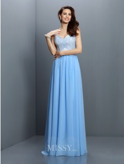 A-Line/Princess V-neck Straps Sleeveless Lace Floor-Length Chiffon Bridesmaid Dresses