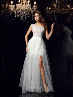 A-Line/Princess Short Sleeves Scoop Tulle Beading Floor-Length Dresses