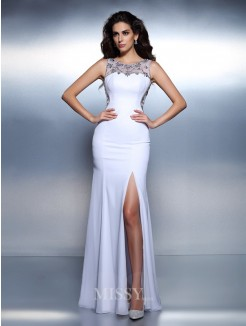 Trumpet/Mermaid Bateau Sleeveless Beading Floor-Length Chiffon Dress