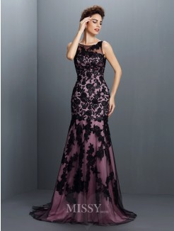 Trumpet/Mermaid Bateau Sleeveless Applique Sweep/Brush Train Elastic Woven Satin Dresses
