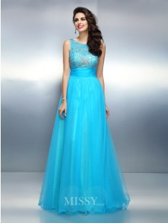 A-Line/Princess Bateau Sleeveless Beading Floor-Length Elastic Woven Satin Dresses