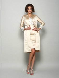 Sheath/Column Short Sleeves Square Satin Knee-Length Applique Mother of the Bride Dress