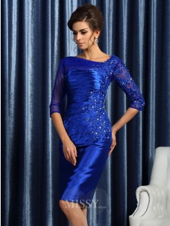 Sheath/Column 3/4 Sleeves Elastic Woven Satin Applique Knee-Length Beading Mother of the Bride Dress