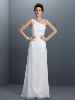 Sheath/Column Sleeveless One-Shoulder Beading Floor-Length Chiffon Dress