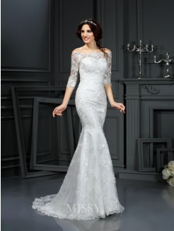 Sheath/Column Off the Shoulder 1/2 Sleeves Sweep/Brush Train Lace Wedding Dress