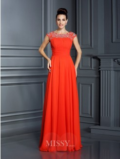 A-Line/Princess Bateau Sleeveless Beading Floor-Length Chiffon Dress