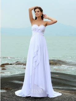 A-Line/Princess Sleeveless Sweetheart Beading Sweep/Brush Train Chiffon Wedding Dress