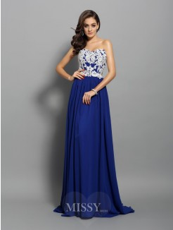 A-Line/Princess Sleeveless Chiffon Applique Sweetheart Sweep/Brush Train Dresses