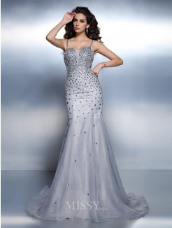 Trumpet/Mermaid Spaghetti Straps Sleeveless Rhinestone Sweep/Brush Train Organza Dresses
