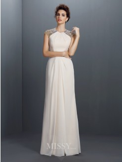 A-Line/Princess Jewel Sleeveless Beading Floor-Length Chiffon Dress
