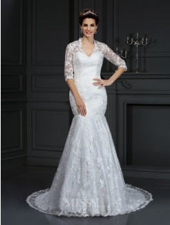 Trumpet/Mermaid V-neck 1/2 Sleeves Lace Court Train Lace Wedding Dress
