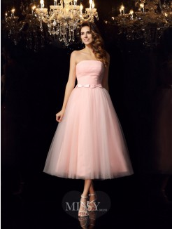 Ball Gown Strapless Satin Sleeveless Tea-Length Sash/Ribbon/Belt Dresses