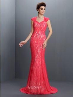 Trumpet/Mermaid Sleeveless V-neck Lace Sweep/Brush Train Lace Dresses