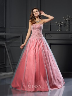 Ball Gown Sleeveless Satin Sleeveless Sweetheart Beading Floor-Length Dresses