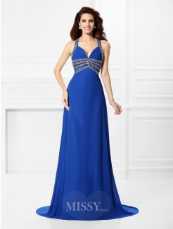 A-Line/Princess V-neck Straps Sleeveless Beading Sweep/Brush Train Chiffon Dress