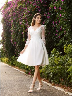 A-Line/Princess V-neck Chiffon 3/4 Sleeves Knee-length Lace Wedding Dress