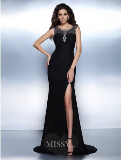 Trumpet/Mermaid Bateau Sleeveless Beading Sweep/Brush Train Chiffon Dress