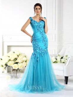 Trumpet/Mermaid Straps Sleeveless Applique Sweep/Brush Train Silk like Satin Dresses