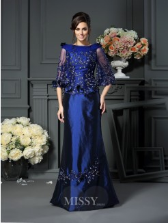 A-Line/Princess Scoop Beading 1/2 Sleeves Floor-Length Taffeta Mother of the Bride Dress