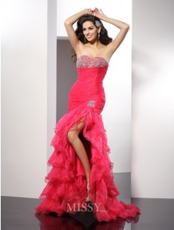Sheath/Column Sweetheart Beading Sleeveless Floor-Length Organza Dresses
