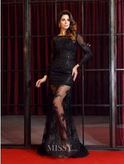 Trumpet/Mermaid Long Sleeves Bateau Lace Sweep/Brush Train Applique Dresses