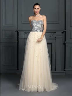 A-Line/Princess Sleeveless Sweetheart Beading Floor-Length Lace Dresses