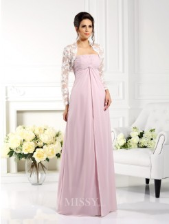 A-Line/Princess Strapless Sleeveless Lace Floor-Length Chiffon Mother of the Bride Dress