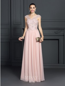 A-Line/Princess Straps Sleeveless Applique Floor-Length Chiffon Dress