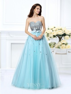 Ball Gown Sleeveless Sweetheart Beading Paillette Floor-Length Satin Dresses