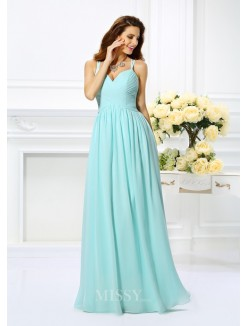 A-Line/Princess Sleeveless Spaghetti Straps Chiffon Pleats Floor-Length Dresses