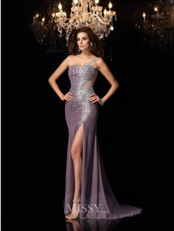 Trumpet/Mermaid Sleeveless Chiffon One-Shoulder Rhinestone Sweep/Brush Train Dresses