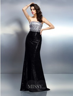 Trumpet/Mermaid Strapless Sleeveless Sequin Sweep/Brush Train Sequins Dresses