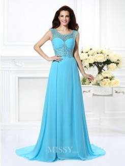 A-Line/Princess Sleeveless Scoop Beading Sweep/Brush Train Chiffon Dress