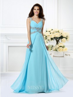 A-Line/Princess Sleeveless V-neck Beading Floor-Length Chiffon Dress