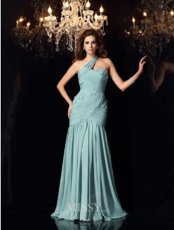 Trumpet/Mermaid Sleeveless One-Shoulder Sweep/Brush Train Chiffon Dress