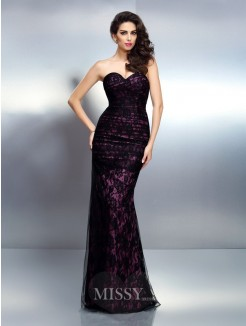 Trumpet/Mermaid Sleeveless Sweetheart Lace Floor-Length Elastic Woven Satin Dresses