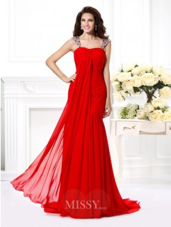 Trumpet/Mermaid Straps Sleeveless Rhinestone Sweep/Brush Train Chiffon Dress