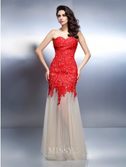 A-Line/Princess Sleeveless Sweetheart Applique Floor-Length Net Dresses