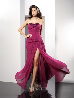 Sheath/Column Strapless Beading Sleeveless Floor-Length Chiffon Dress