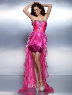 Sheath/Column Sleeveless Sweetheart Beading Rhinestone Asymmetrical Organza Dresses
