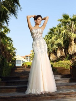 Trumpet/Mermaid Sleeveless Beading Strapless Floor-Length Satin Dresses