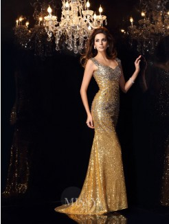 Trumpet/Mermaid Straps Sleeveless Sequins Floor-Length Rhinestone Dresses