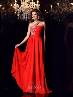 A-Line/Princess Sleeveless One-Shoulder Chiffon Sweep/Brush Train Beading Dresses