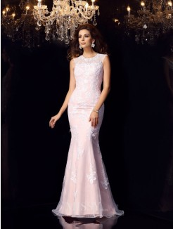 Trumpet/Mermaid Sleeveless Scoop Satin Lace Floor-Length Dresses