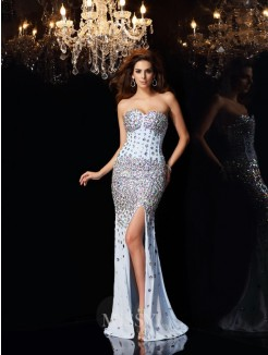 Trumpet/Mermaid Sleeveless Sweetheart Sweep/Brush Train Chiffon Rhinestone Dresses