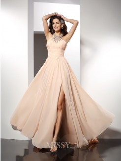 A-Line/Princess Jewel Sleeveless Ruffles Sweep/Brush Train Chiffon Dress